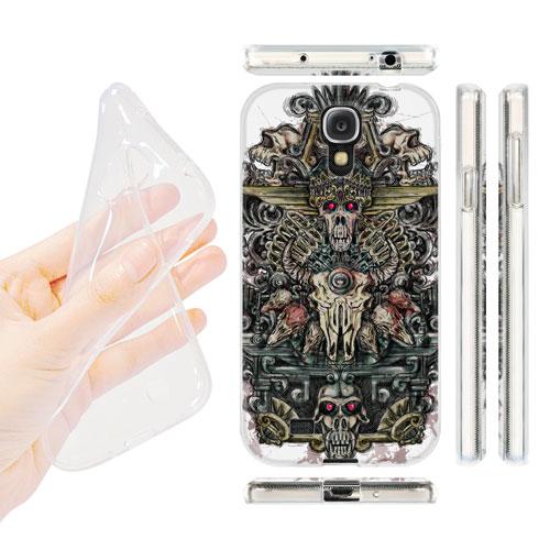 HEAD CASE silikonový obal na mobil Samsung galaxy S4 lebky a meče barevná totem