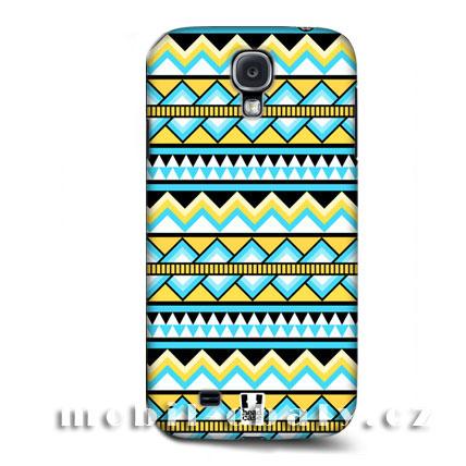 HEAD CASE pouzdro na mobil Samsung galaxy S4 Aztécký vzor zelená modrá