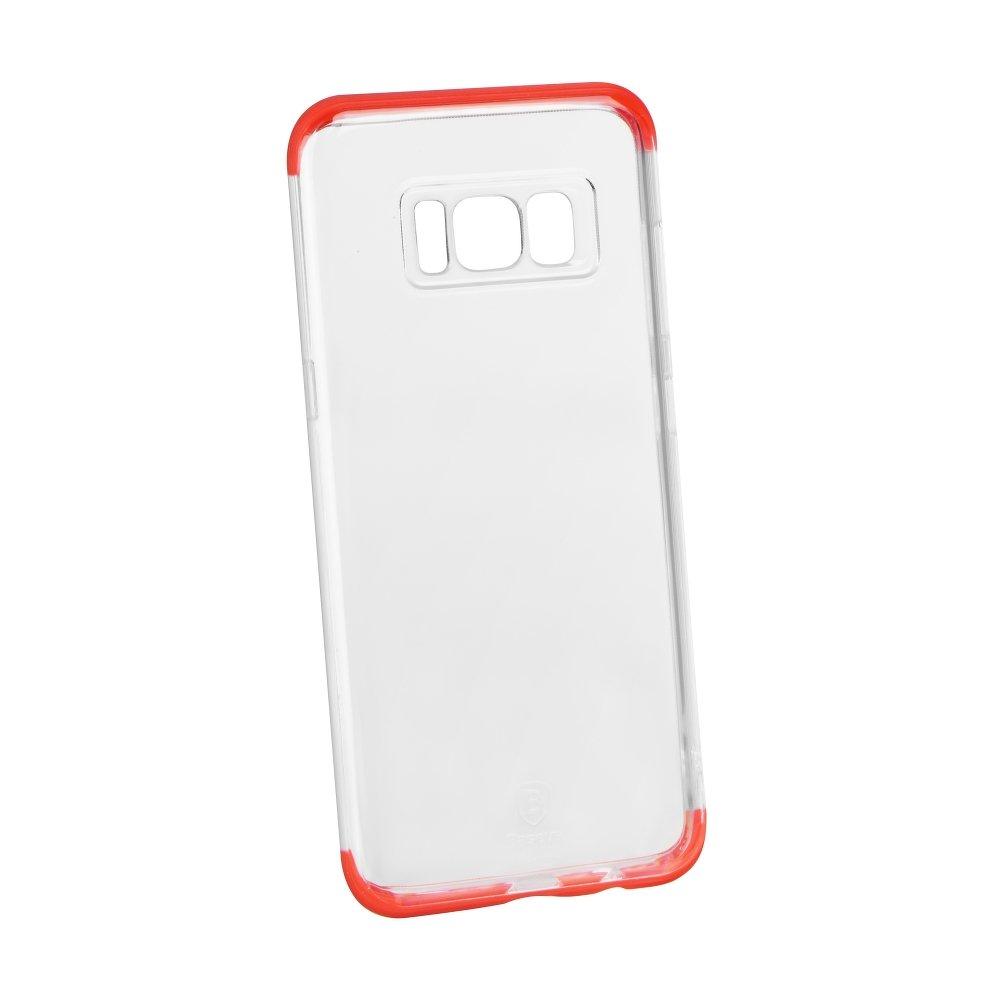 Silikonový odolný obal Samsung Galaxy S8 Armor case Baseus čirý červené okraje