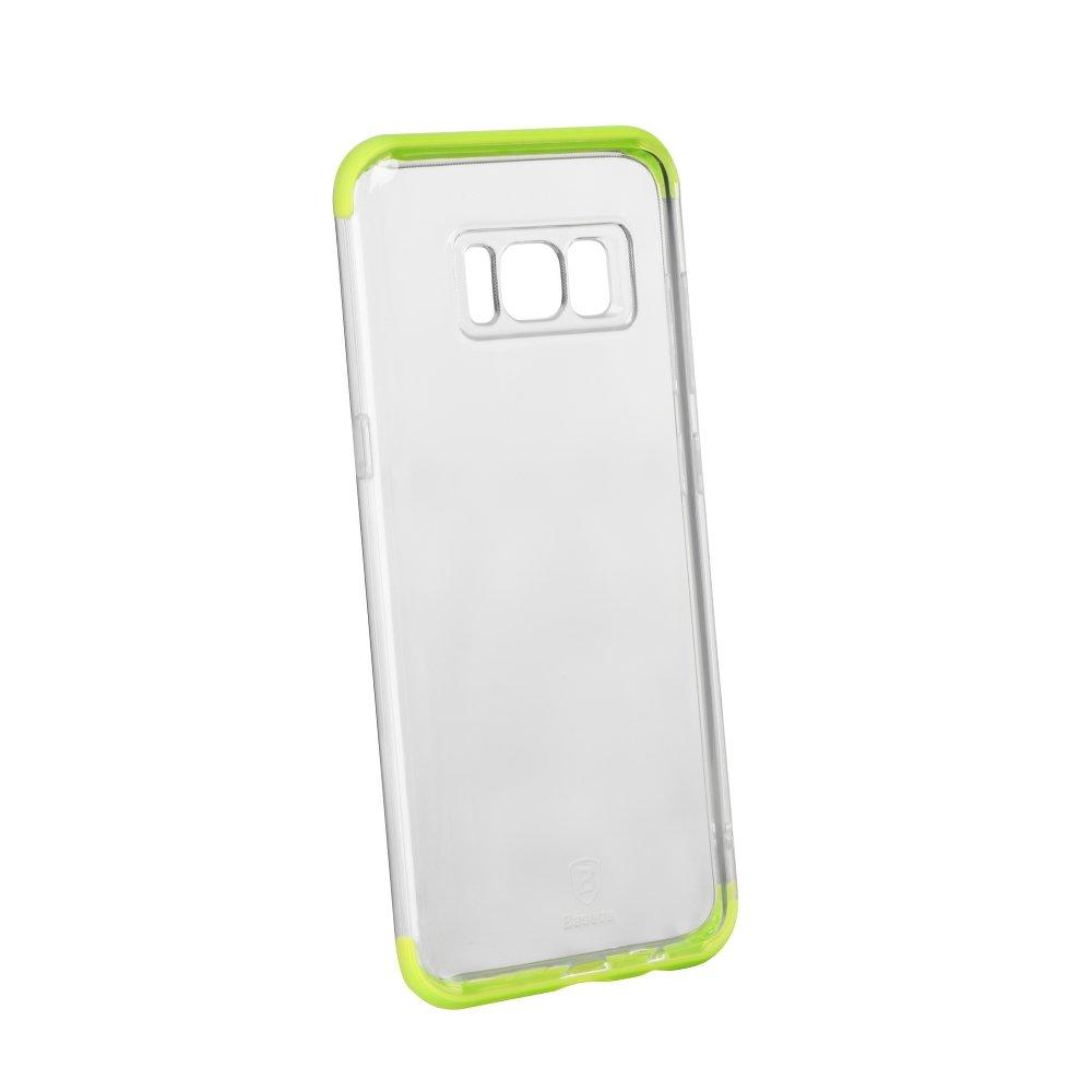 Silikonový odolný obal Samsung Galaxy S8 Armor case Baseus čirý zelené okraje