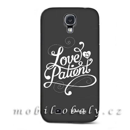 HEAD CASE pouzdro na mobil Samsung galaxy S4 Love is patient šedá