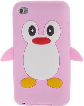 Silikon Obal na MP3 přehrávač Apple Ipod Touch 4. generace tučňák růžová barva