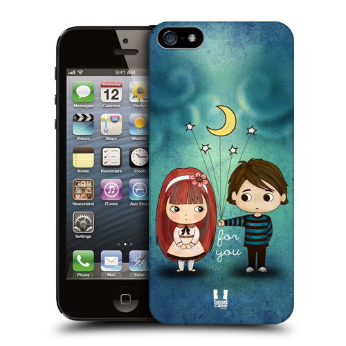HEAD CASE plastový obal na mobil Iphone 5/5S dívka a chlapec měsíc a hvězdy