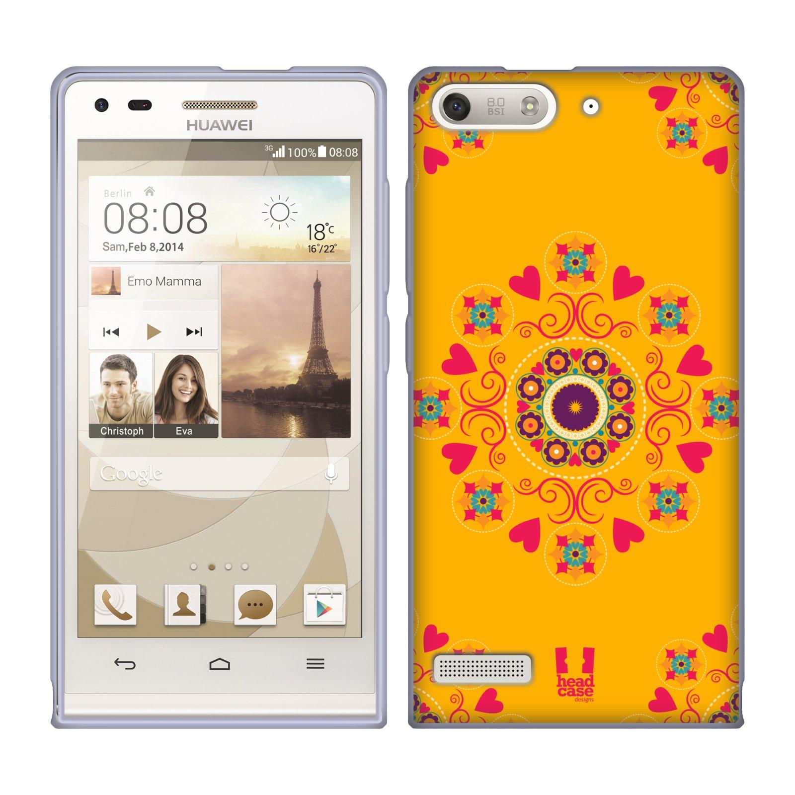 HEAD CASE silikonový obal na mobil Huawei Ascend G6 srdíčka kaleidoskop žlutá