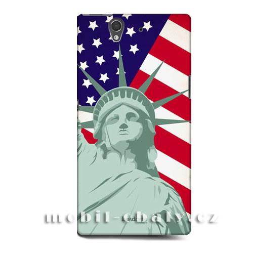 HEAD CASE obal na Sony XPERIA Z americká vlajka socha svobody