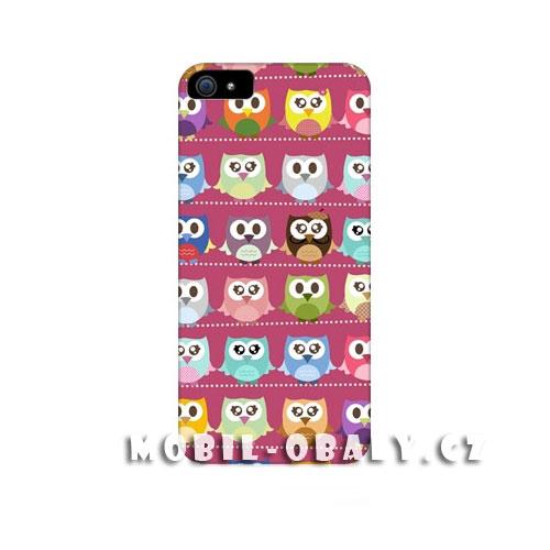 HEAD CASE Plastový obal na mobil Iphone 5/5S barevné sovičky růžový odstín