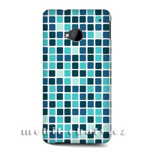 HEAD CASE obal na mobil HTC ONE M7 mozaika barva modrá