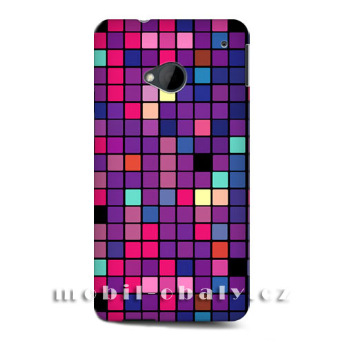 HEAD CASE obal na mobil HTC ONE M7 mozaika fialová disko styl