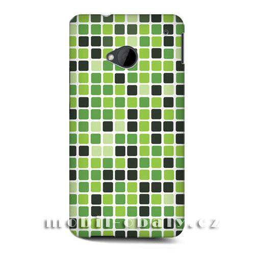 HEAD CASE obal na mobil HTC ONE M7 mozaika barva zelená