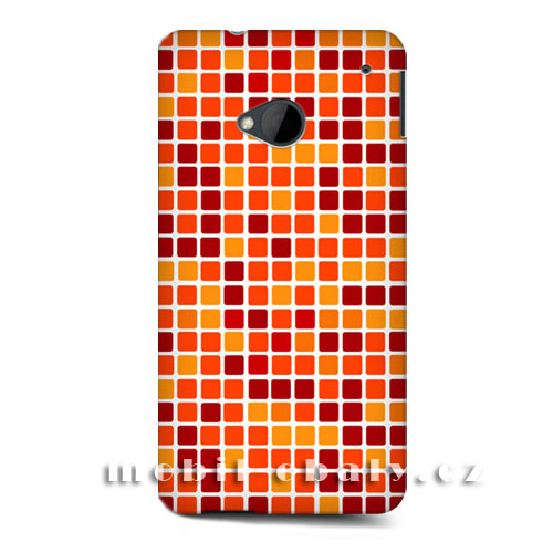 HEAD CASE obal na mobil HTC ONE M7 mozaika barva oranžová