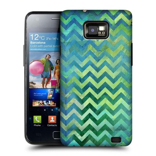 HEAD CASE obal na mobil Samsung Galaxy i9100 S2 Zelený vzor tvar V