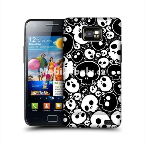 HEAD CASE obal na mobil Samsung Galaxy i9100 S2 lebky černá a bílá