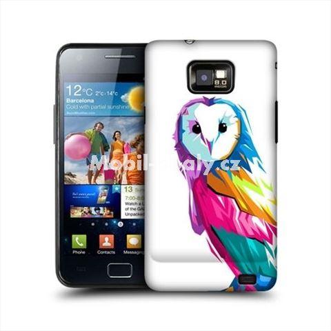 HEAD CASE obal na mobil Samsung Galaxy i9100 S2 barevná sova bílé pozadí