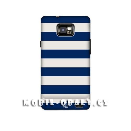 HEAD CASE obal na mobil Samsung Galaxy i9100 S2 modré pruhy vodorovné