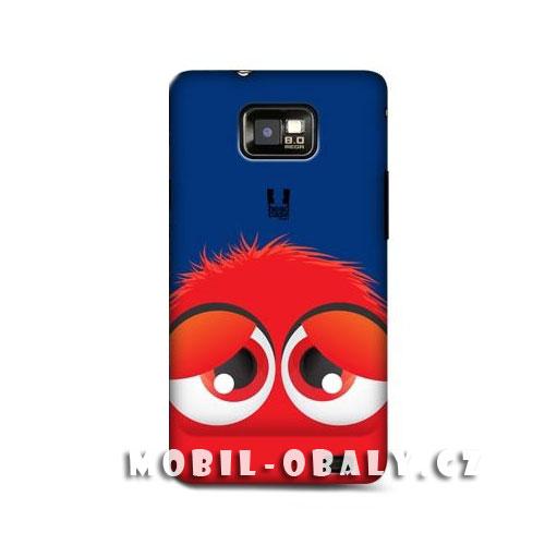 HEAD CASE obal na mobil Samsung Galaxy i9100 S2 červený smajlík modré pozadí