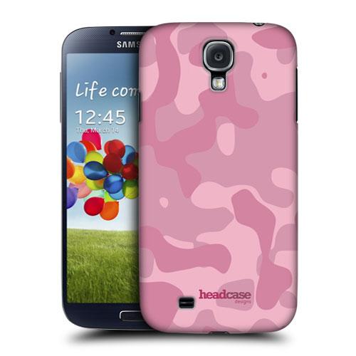 HEAD CASE pouzdro na mobil Samsung galaxy S4 Vojenský vzor růžová barva