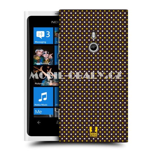 HEAD CASE obal Nokia Lumia 800 včelí vzor hnědá barva