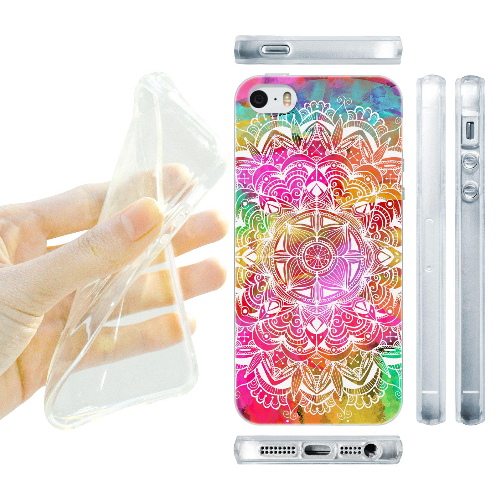 HEAD CASE silikonový obal na mobil Iphone 5 5S barevná mandala vodní barva 45cf742ee32