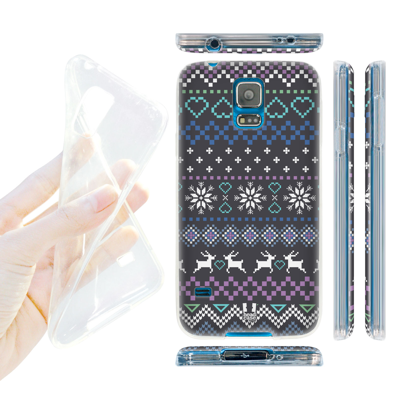 e71062372 HEAD CASE silikonový obal na mobil Samsung galaxy S5 zimní motiv barevný