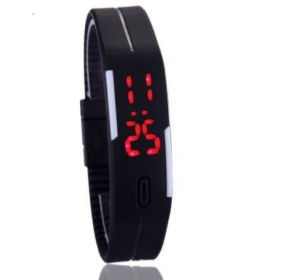 Hodinky silikon pásek digitální LED černá barva náramek aea76973d2