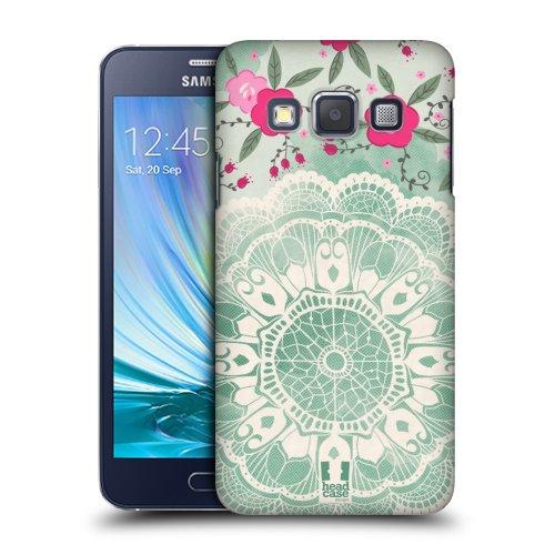 6f1d8e884 HEAD CASE plastové pouzdro na mobil Samsung Galaxy A3 krajkové vzory zelená  empty