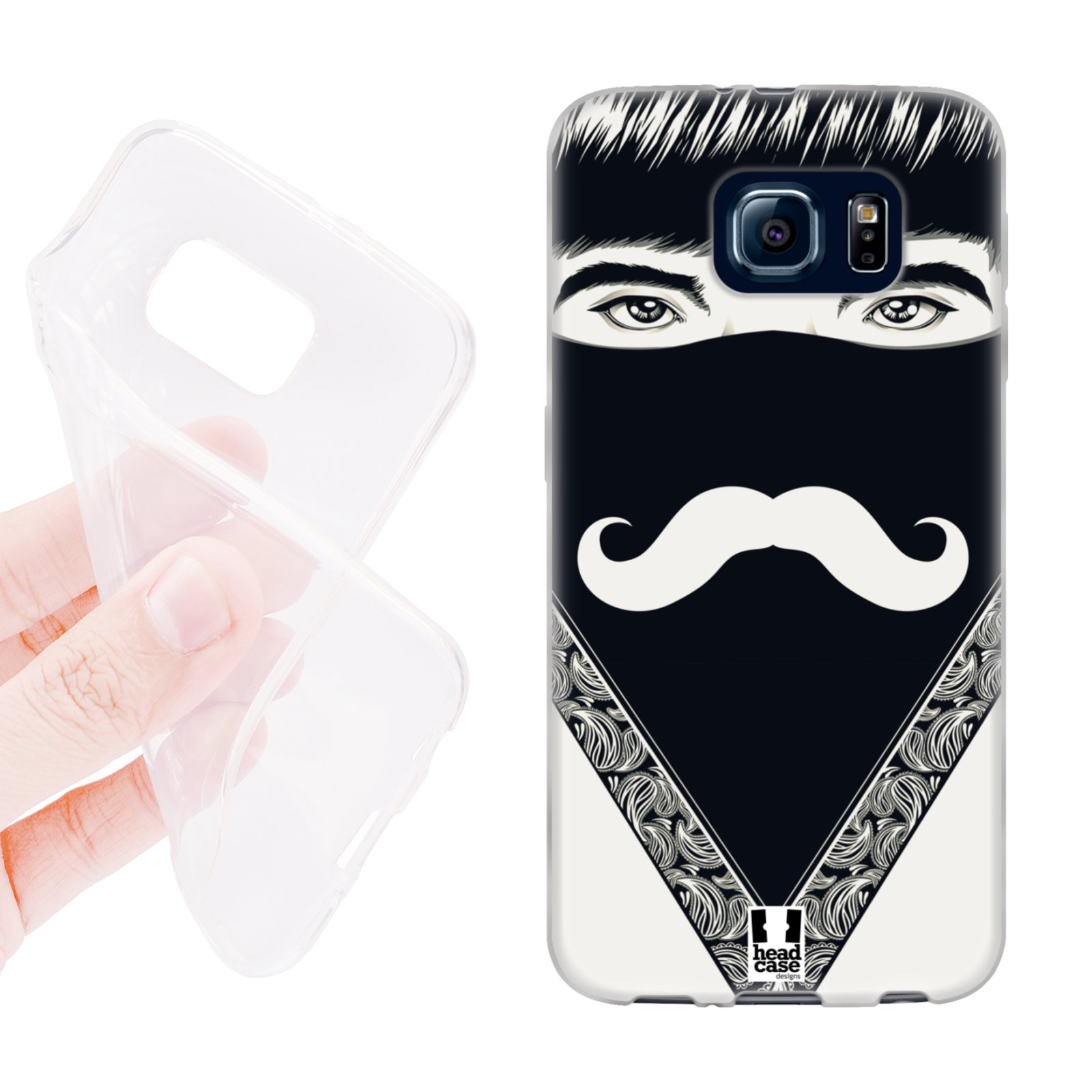 d4e1e3053 HEAD CASE silikonový obal na mobil Samsung galaxy S6 šátek knírek černá a  bílá