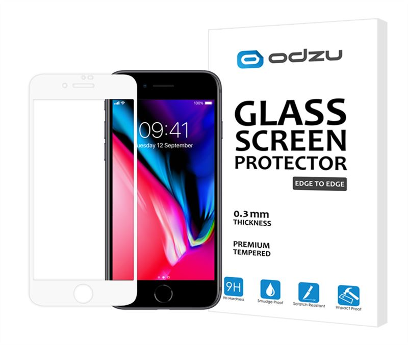Odzu Glass Screen Protector E2E White - iPhone 8/7